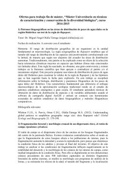 Ofertas de Trabajos Fin de Máster 2014/2015