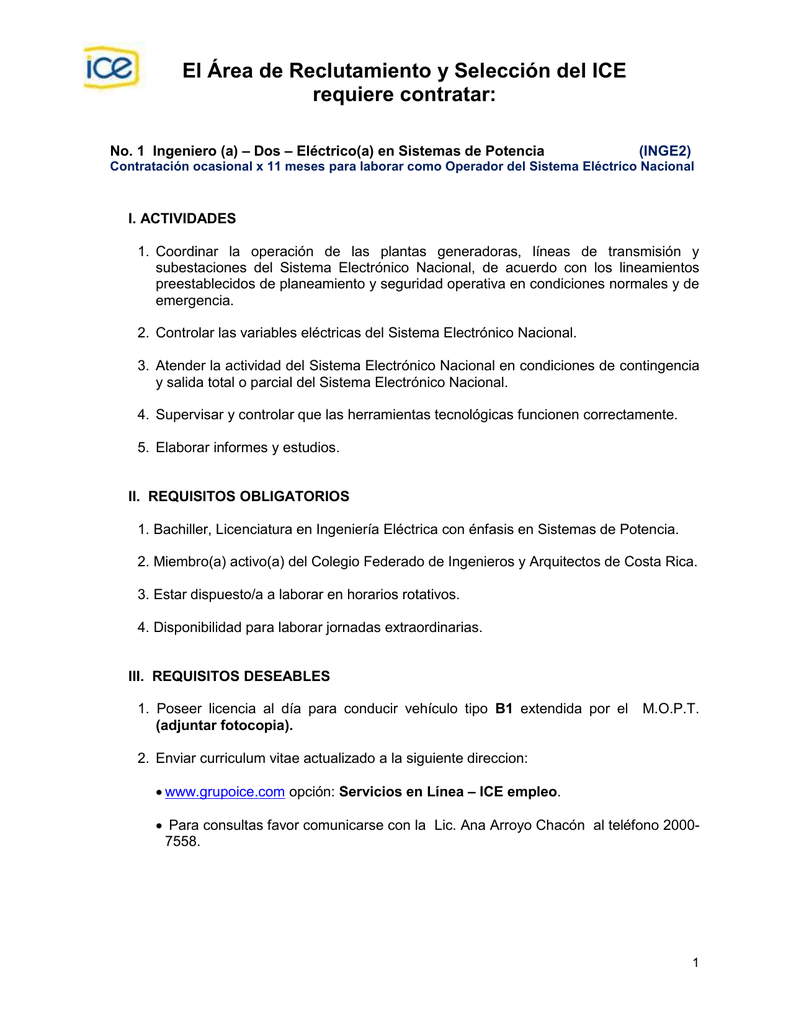 El Área de Reclutamiento y Selección del ICE requiere contratar