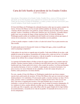 Carta del Jefe Indio Seattle al presidente de