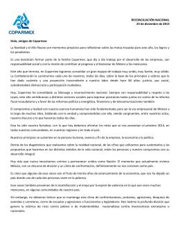 RECONCILIACIÓN NACIONAL 23 de diciembre de 2013 Hola, amigos de Coparmex: