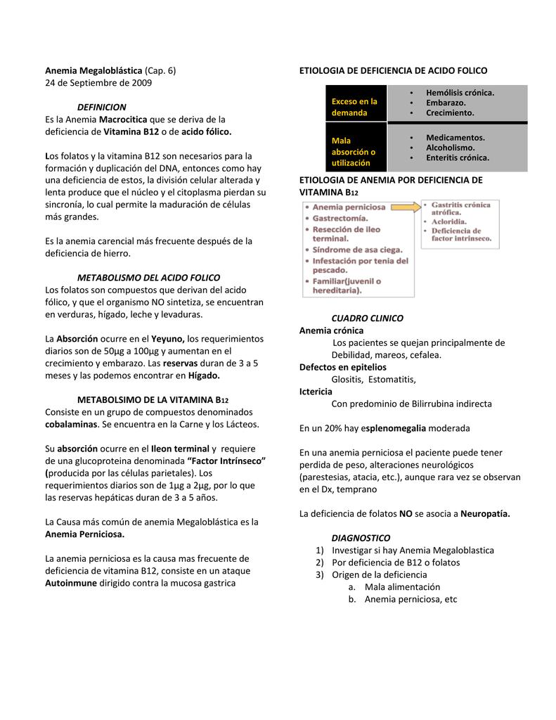 anemia megaloblastica por defecto de vitamina b12 y acido folico