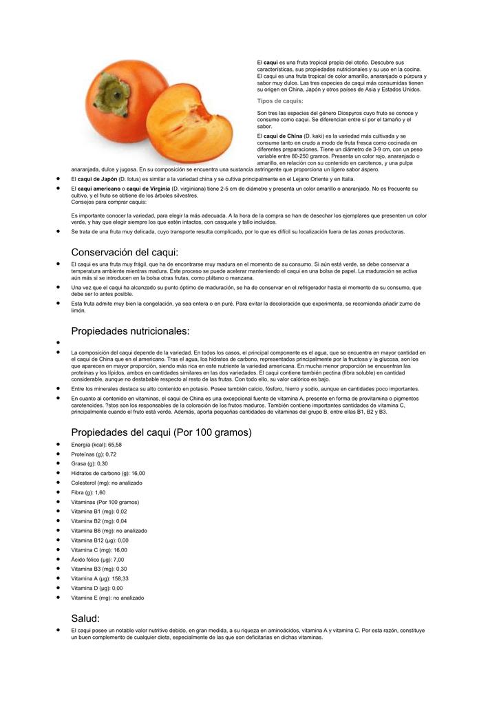 propiedades y vitaminas del caqui