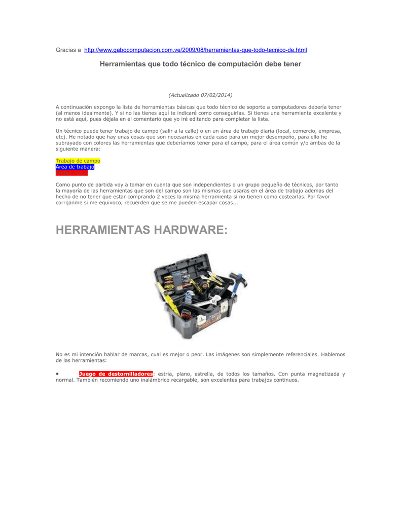 Herramientas que todo técnico de computación debe tener 10c423ff47a4