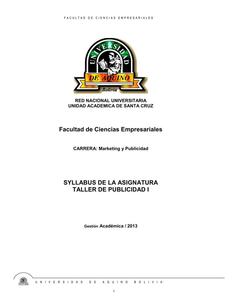 b95cbff138a SYLLABUS TALLER DE PUBLICIDAD I