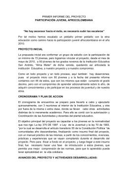 PRIMER INFORME DEL PROYECTO PARTICIPACIÓN JUVENIL AFROCOLOMBIANA
