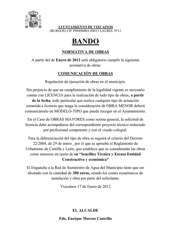 bando permiso de obras municipio