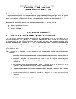 COMISIÓN NACIONAL DE LOS SALARIOS MÍNIMOS NOTAS A