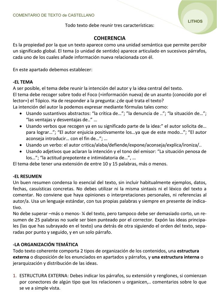 Guión Para Comentario De Texto De Castellano 2º Bachiller