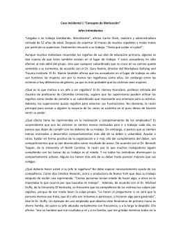 "Caso Incidental 1 ""Concepto de Motivación"" Jefes Intimidantes"