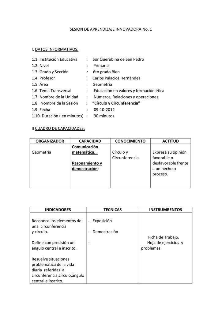 SESION DE APRENDIZAJE INNOVADORA No. 1 I. DATOS