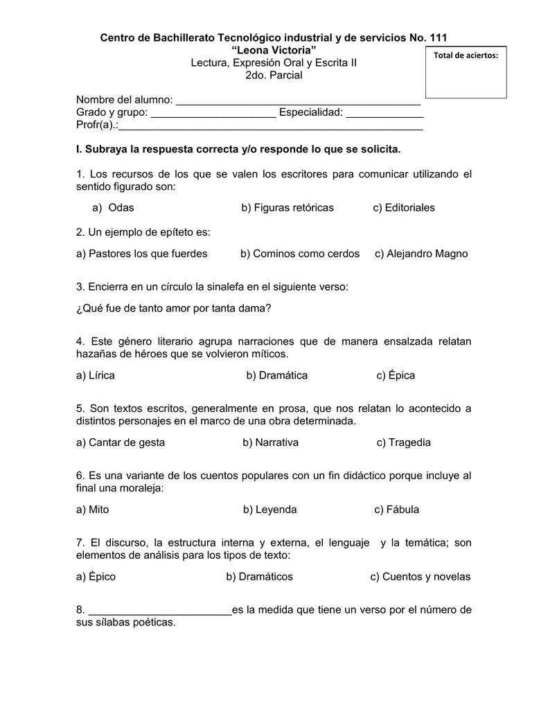 Total De Aciertos Centro De Bachillerato Tecnológico