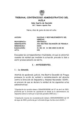 TRIBUNAL CONTENCIOSO ADMINISTRATIVO DEL HUILA  Sala Cuarta de Decisión