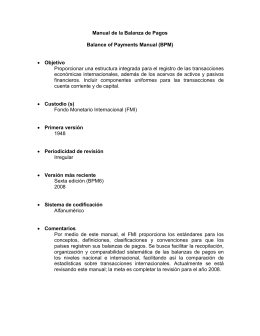 Manual de la Balanza de Pagos Balance of Payments Manual (BPM
