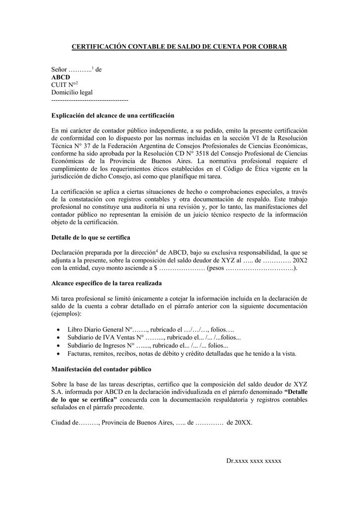 certificación contable de saldo de cuenta por cobrar