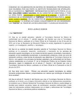 CONVENIO DE COLABORACIÓN EN MATERIA DE RESIDENCIAS