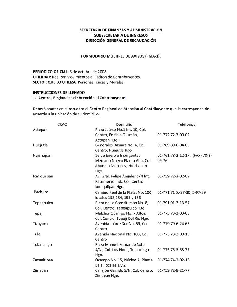 Instructivo FMA-1 Formato Múltiple de Avisos