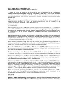 RESOLUCIÓN 89 DE 17 DE MAYO DE 2013 DIRECCIÓN DE