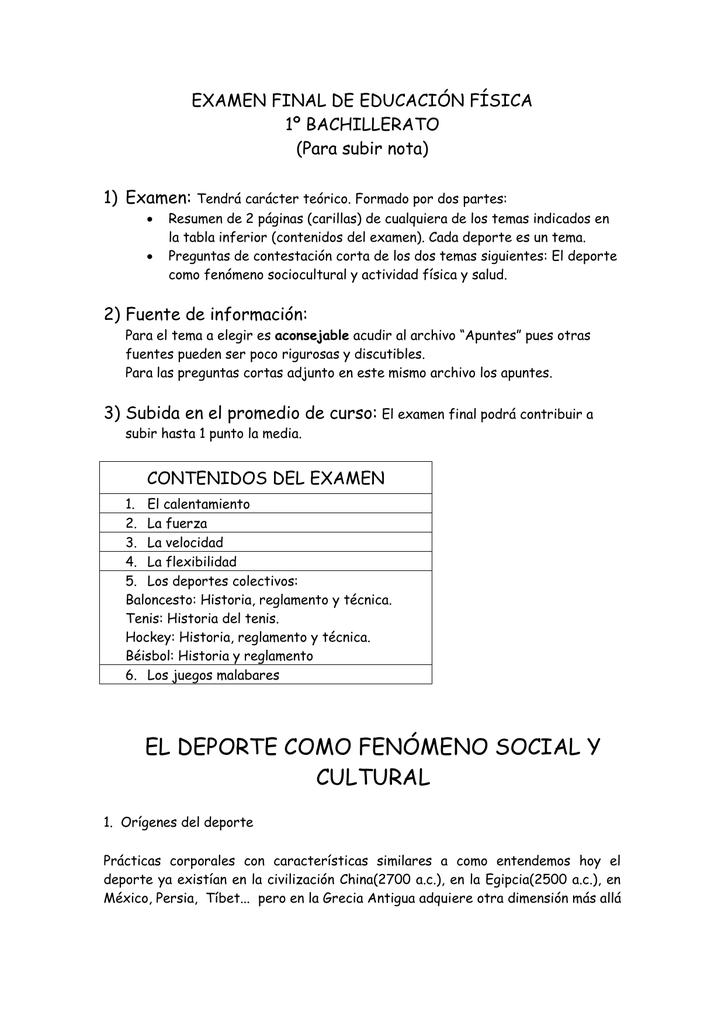 Examen Final De Educacion Fisica 1º Bachillerato Para