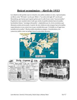 Boicot económico – Abril de 1933 Los objetivos del partido nazi en