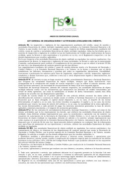 ANEXO DE DISPOSICIONES LEGALES. LEY GENERAL DE