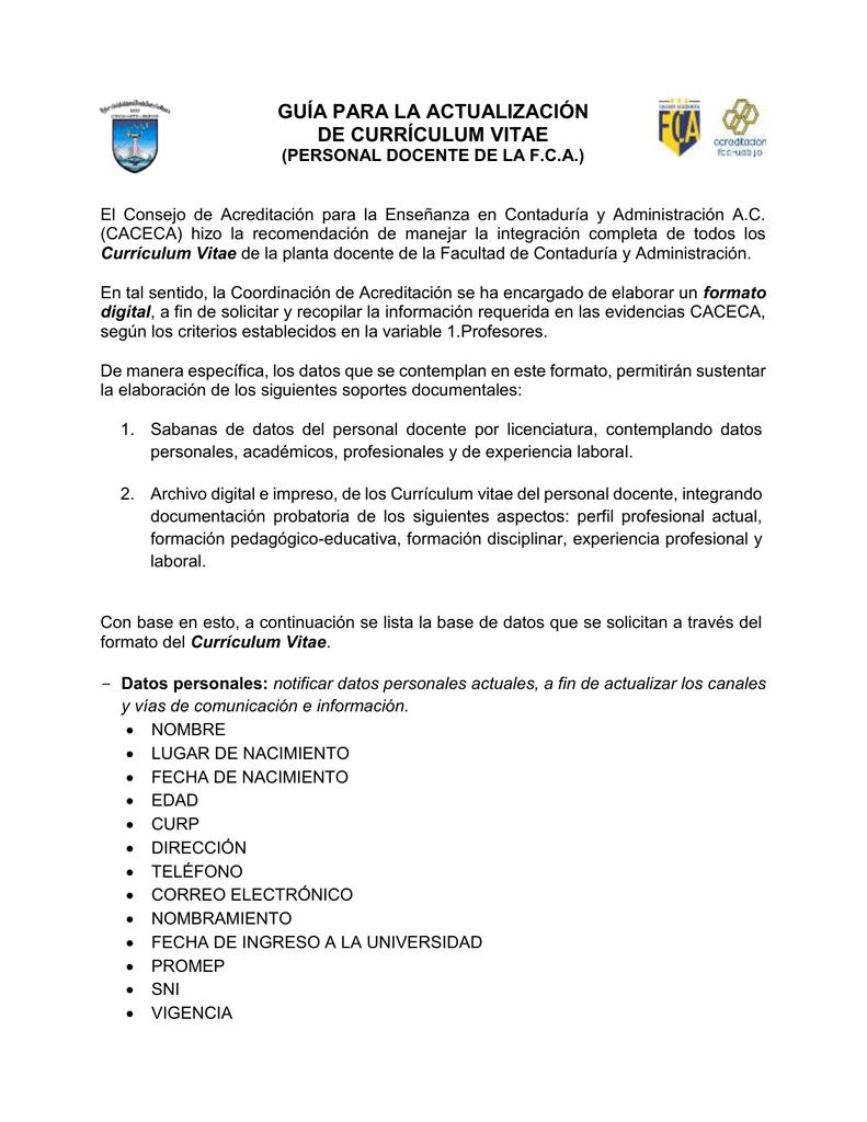 CURRÍCULUM VITAE - facultad de contaduría y administración