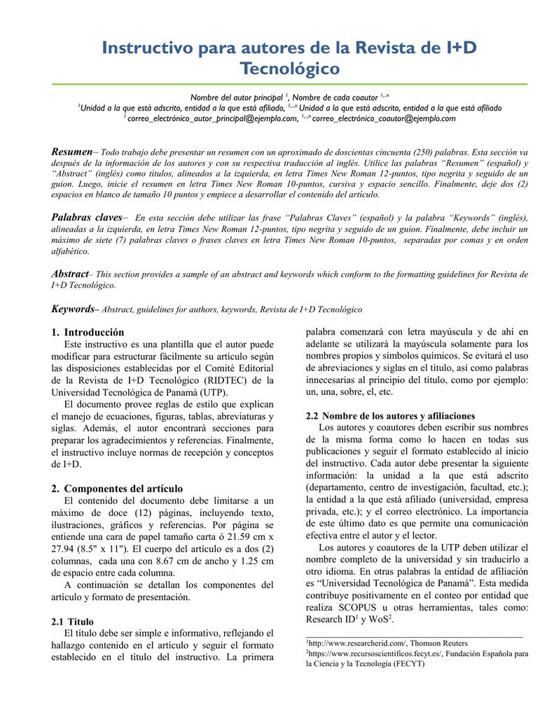 Plantilla, Instructivo para Autores y Normas de Recepción (WORD