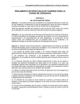 reglamento de espectaculos taurinos para la ciudad de chihuahua