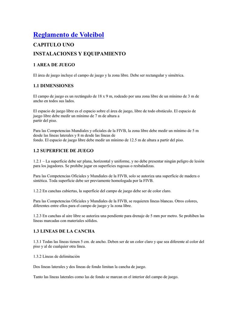 Reglamento de Voleibol CAPITULO UNO INSTALACIONES Y EQUIPAMIENTO