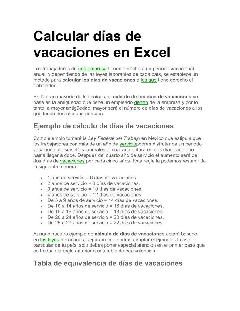 Calcular Dias De Vacaciones En Excel 47673