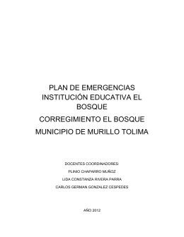 PLAN DE EMERGENCIAS INSTITUCIÓN EDUCATIVA EL BOSQUE