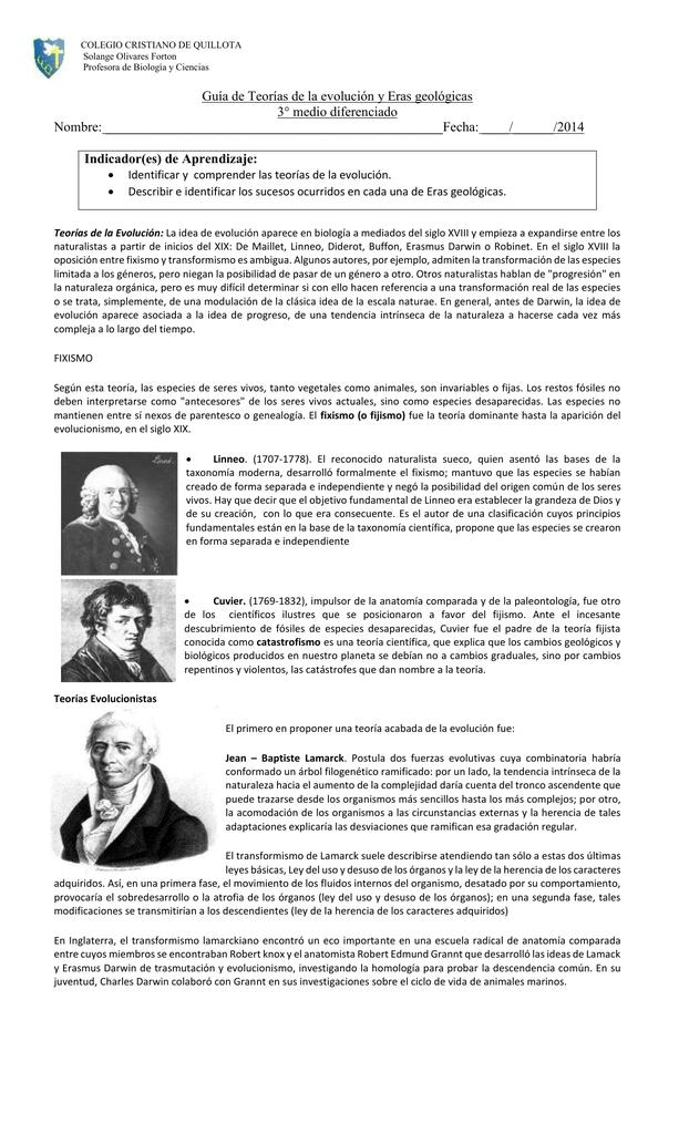 Guía de Teorías de la evolución y Eras geológicas