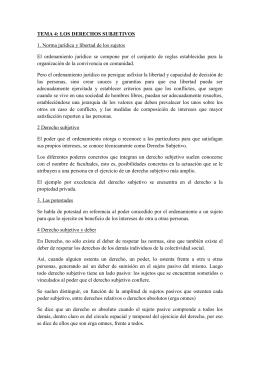 TEMA 4: LOS DERECHOS SUBJETIVOS