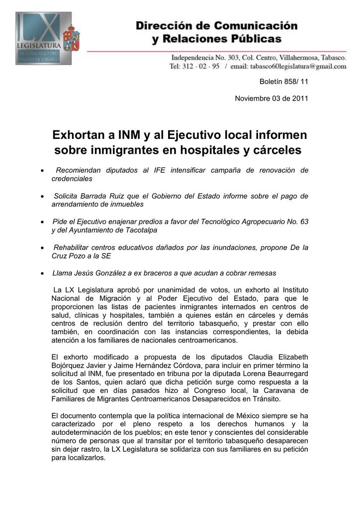 Exhortan A Inm Y Al Ejecutivo Local Informen Sobre