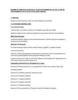 IMFORME DE TRABAJO DE LOS DIAS 25, 26, 27,28,29 DE