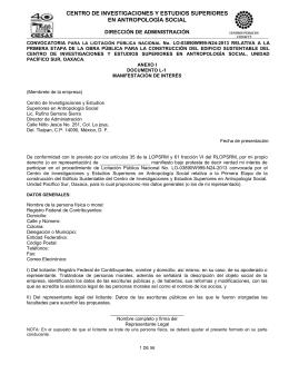 CENTRO DE INVESTIGACIONES Y ESTUDIOS SUPERIORES EN ANTROPOLOGÍA SOCIAL  DIRECCIÓN DE ADMINISTRACIÓN