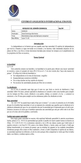 CENTRO EVANGELISTICO INTERNACIONAL EMANUEL  BOSQUEJO DEL SERMÓN DOMINICAL Red Nº: