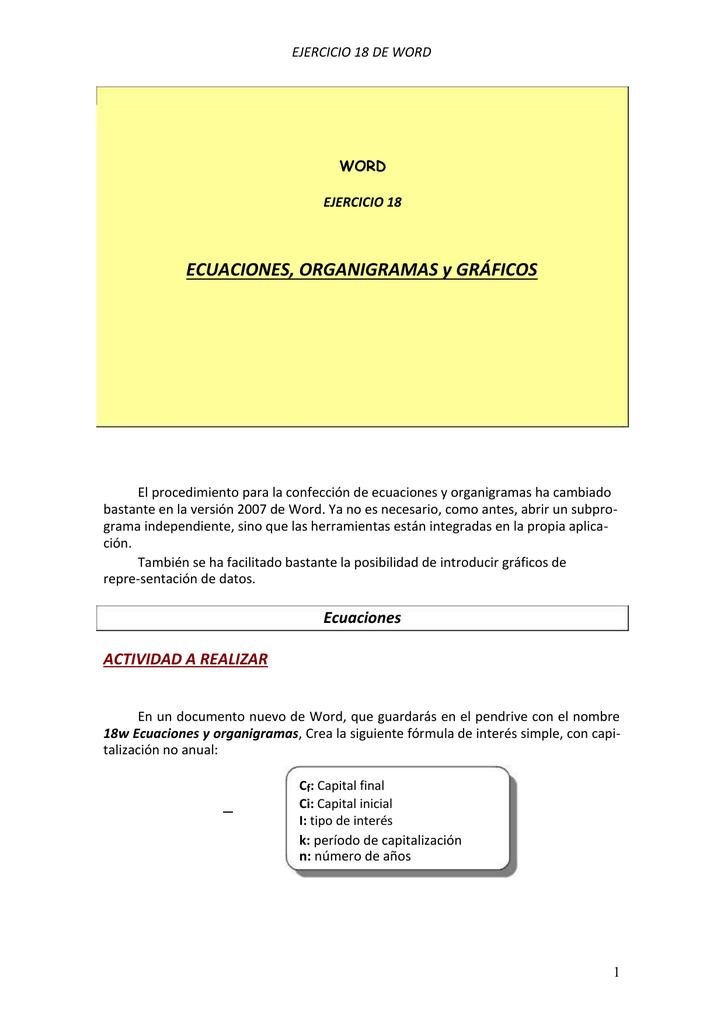 Ecuaciones y organigramas - Curso De Grabador De Datos