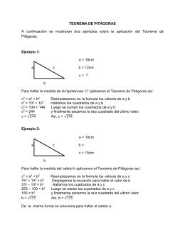 TEOREMA DE PITÁGORAS  Ejemplo 1: