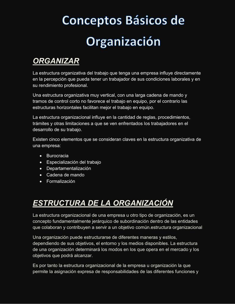 Conceptos Bsicos De Organizacin
