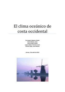 El clima oceánico de costa occidental