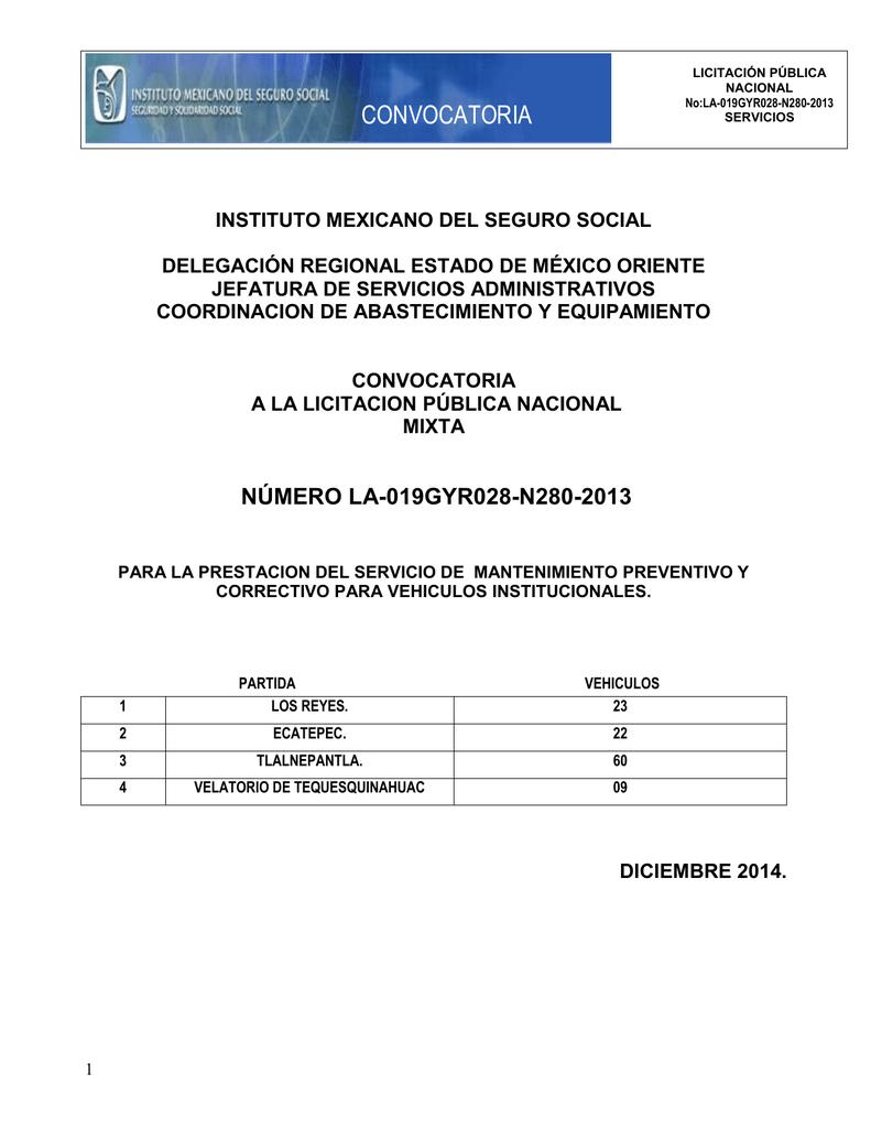 Convocatoria - compras del IMSS - Instituto Mexicano del Seguro