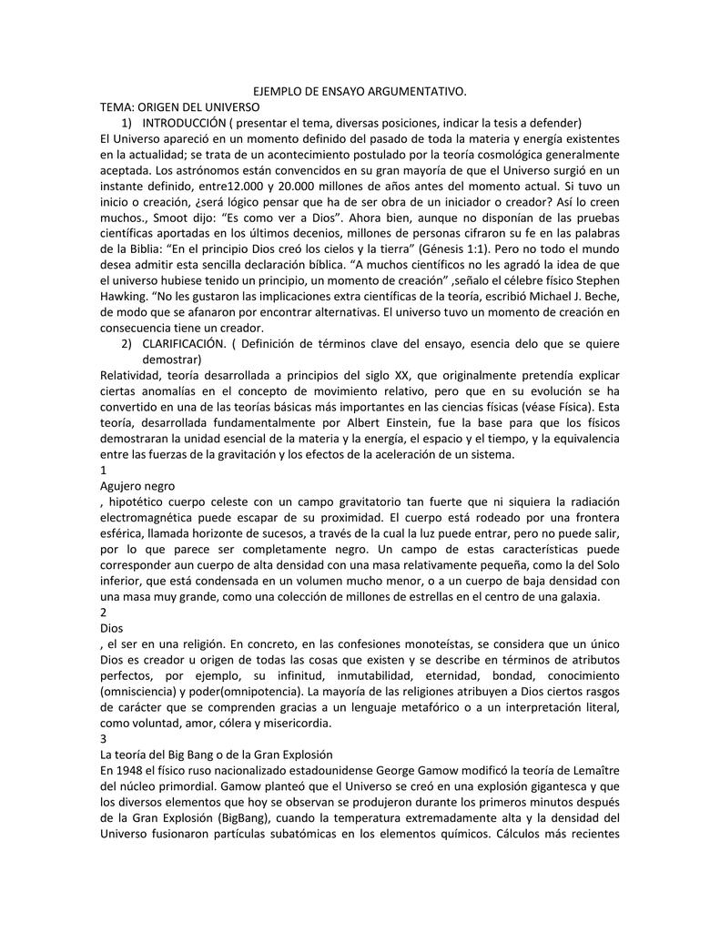 EJEMPLO DE ENSAYO ARGUMENTATIVO. TEMA: ORIGEN DEL UNIVERSO