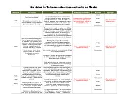 Servicios de Telecomunicaciones actuales en México Nombre