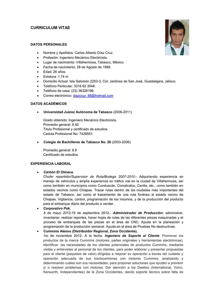 Curriculum Vitae Datos Personales Nombre Y Apellidos Carlos