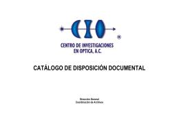 CATÁLOGO DE DISPOSICIÓN DOCUMENTAL Dirección General Coordinación de Archivos