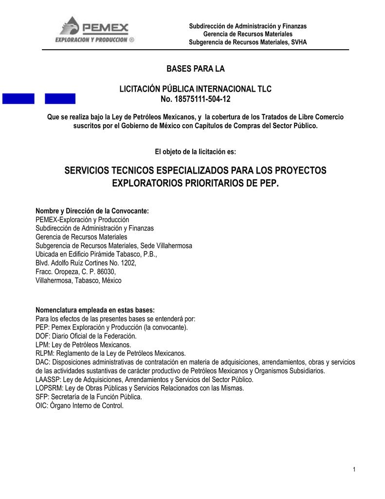 PREBASES 504-12 - PEMEX Exploración y Producción PEP