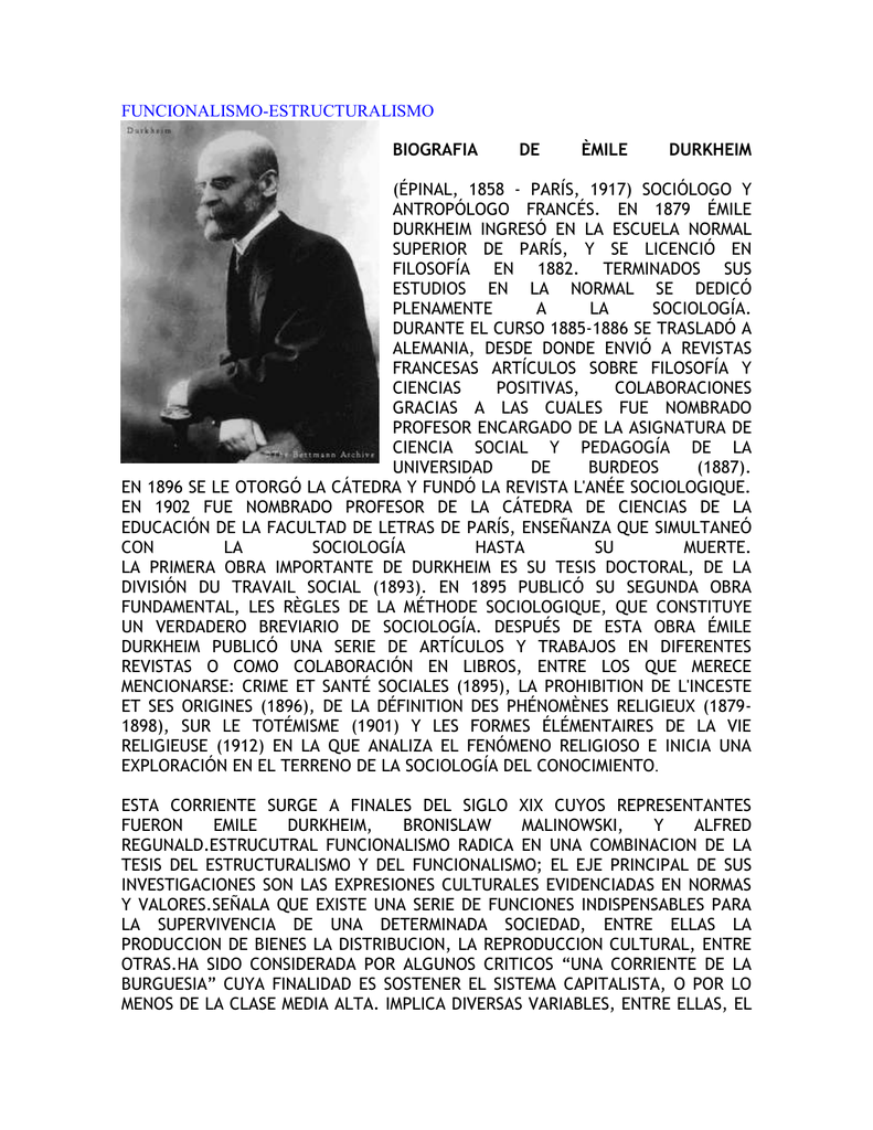 Funcionalismo Estructuralismo épinal 1858 París 1917