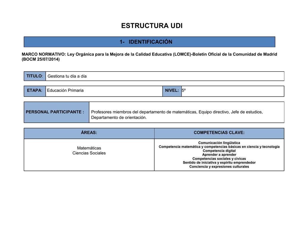 ESTRUCTURA UDI 1- IDENTIFICACIÓN