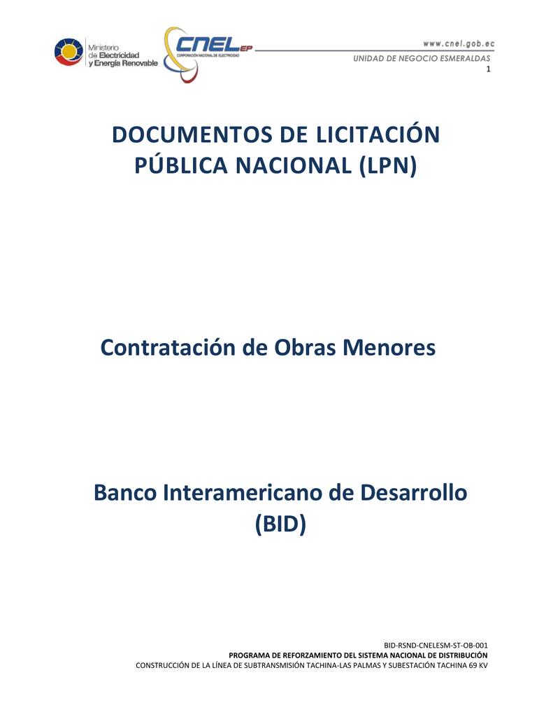 DOCUMENTOS DE LICITACIÓN PÚBLICA NACIONAL (LPN) Contratación de ...