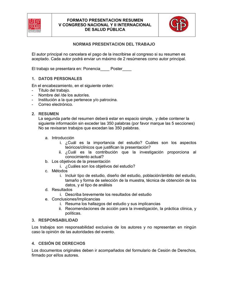 formato resumen para presentación de ponencias y mesas de trabajo